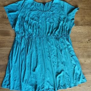 Torrid Teal Challis Embroidered Skater Dress 4